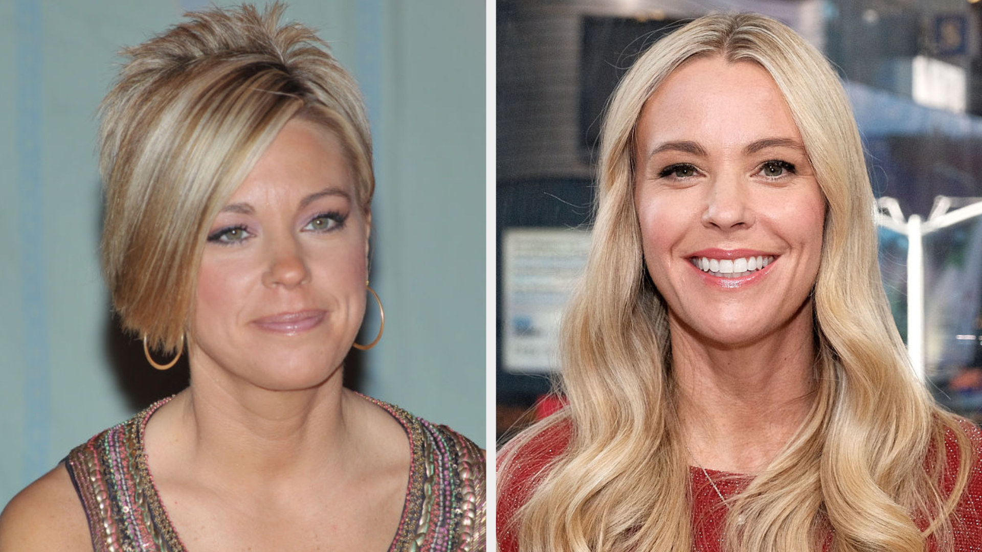 Kate with an asymmetrical pixie cut next to Kate with long blonde hair