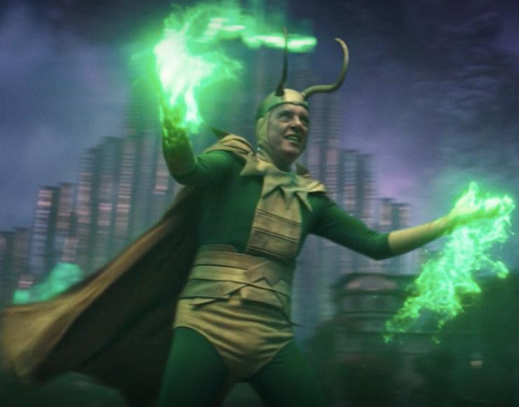 Classic Loki wears a spandex bodysuit under a campy version of Loki's Asgard outfit
