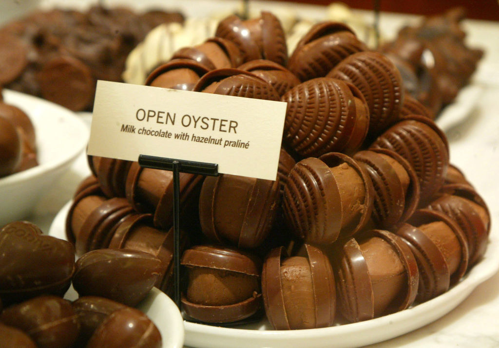 A bunch of Oyster shaped chocolate truffles