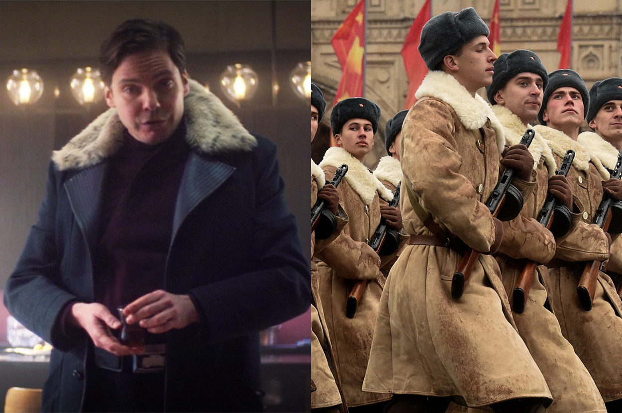 Zemo's structured overcoat with a fur collar mirrors WWII-era Russian military coats