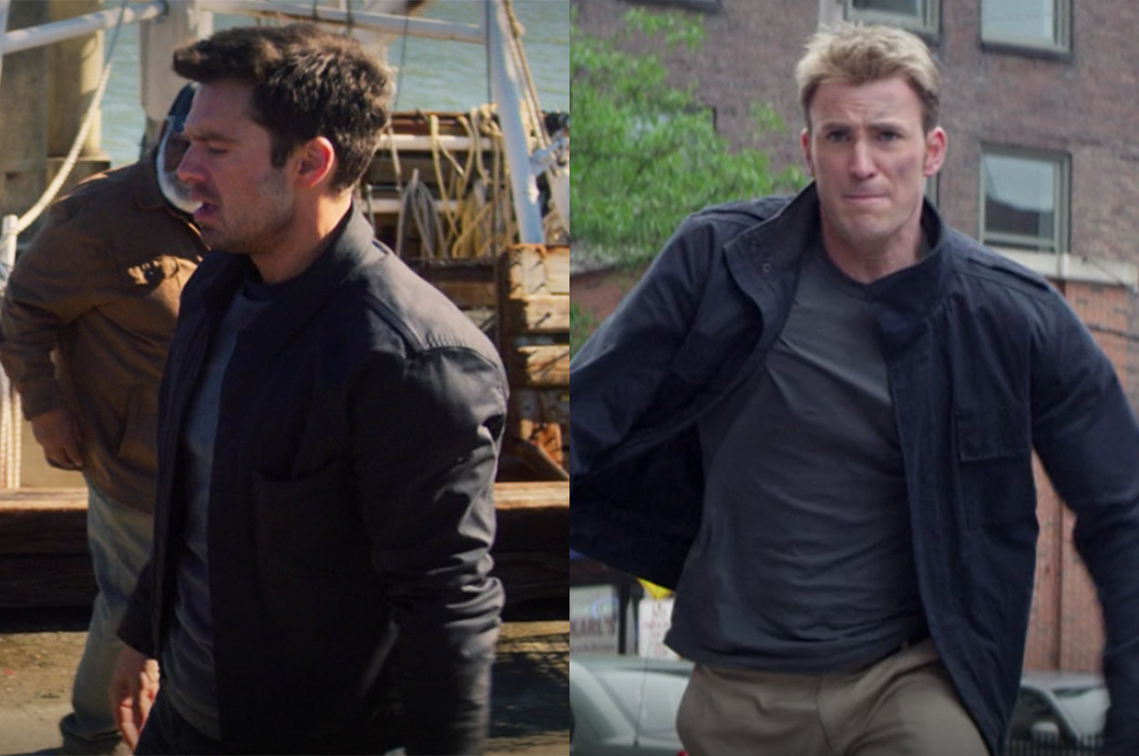 both boys wear layers, but Bucky's clothes are darker than Steve's