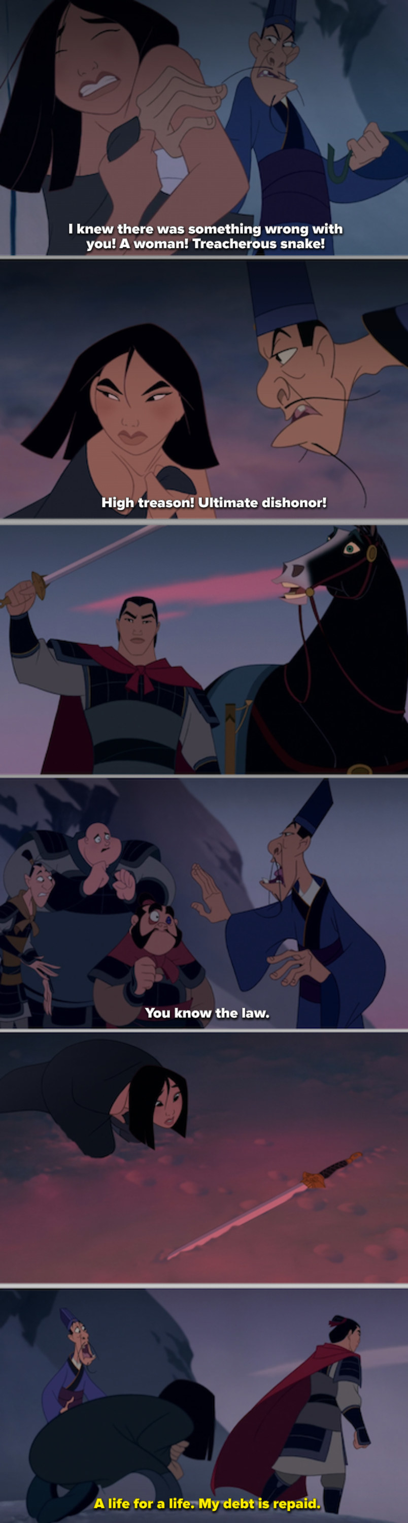 Mulan being thrown to the snowy ground and then sacrificed by Li Shang