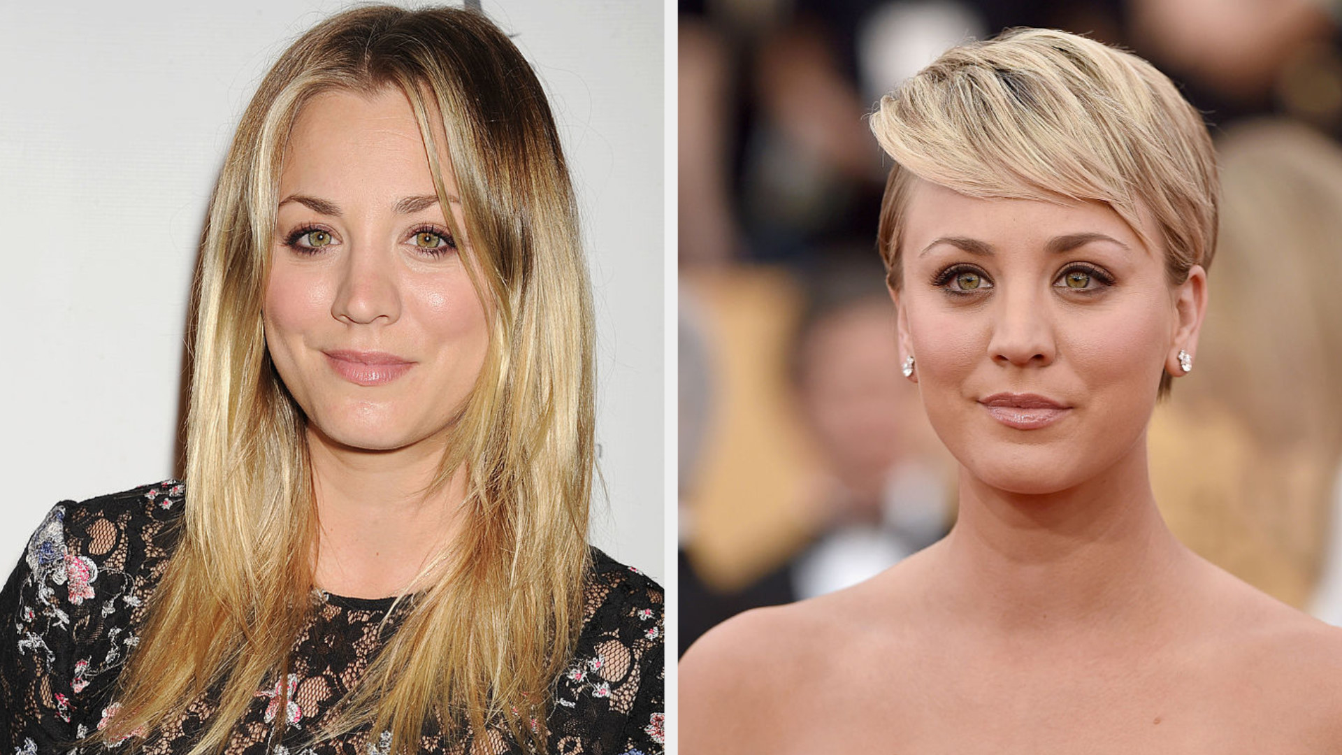 Kaley with long blonde hair and Kaley with a blonde pixie cut