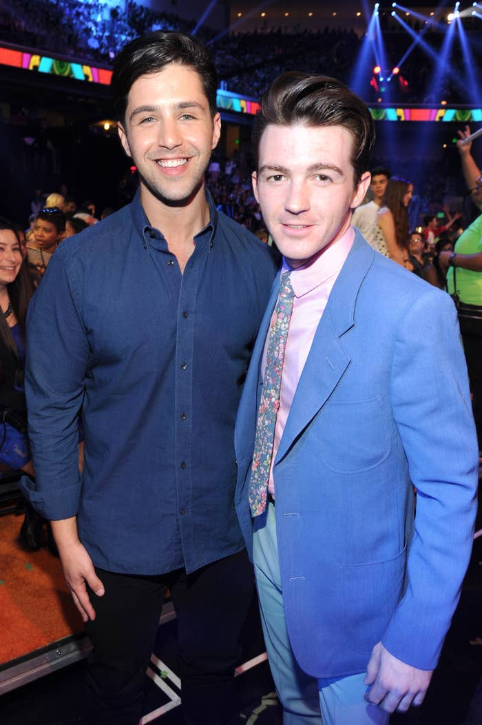 Josh with former costar Drake Bell smiling