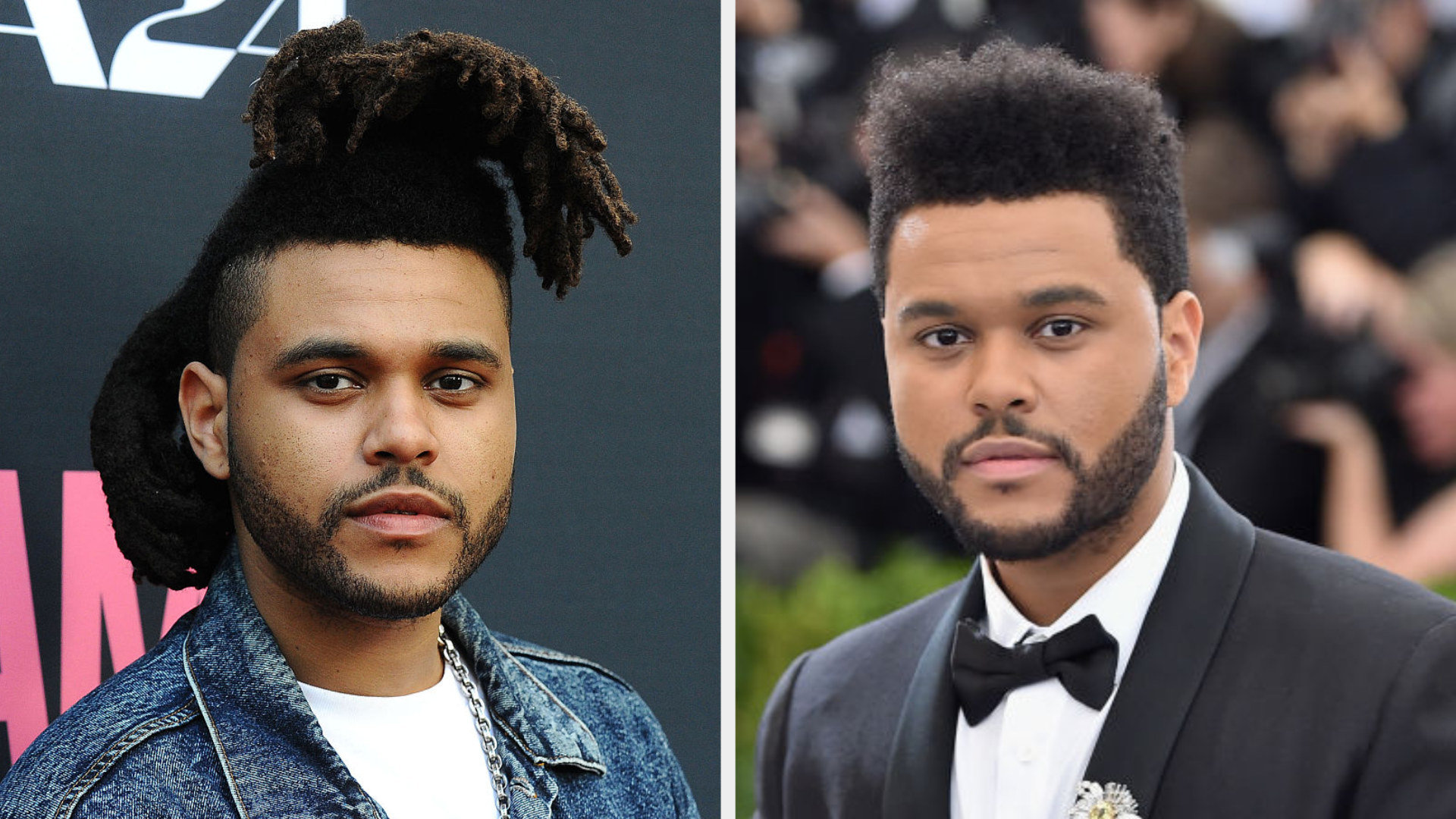 The Weeknd with long dreads and The Weeknd with a shorter hairstyle
