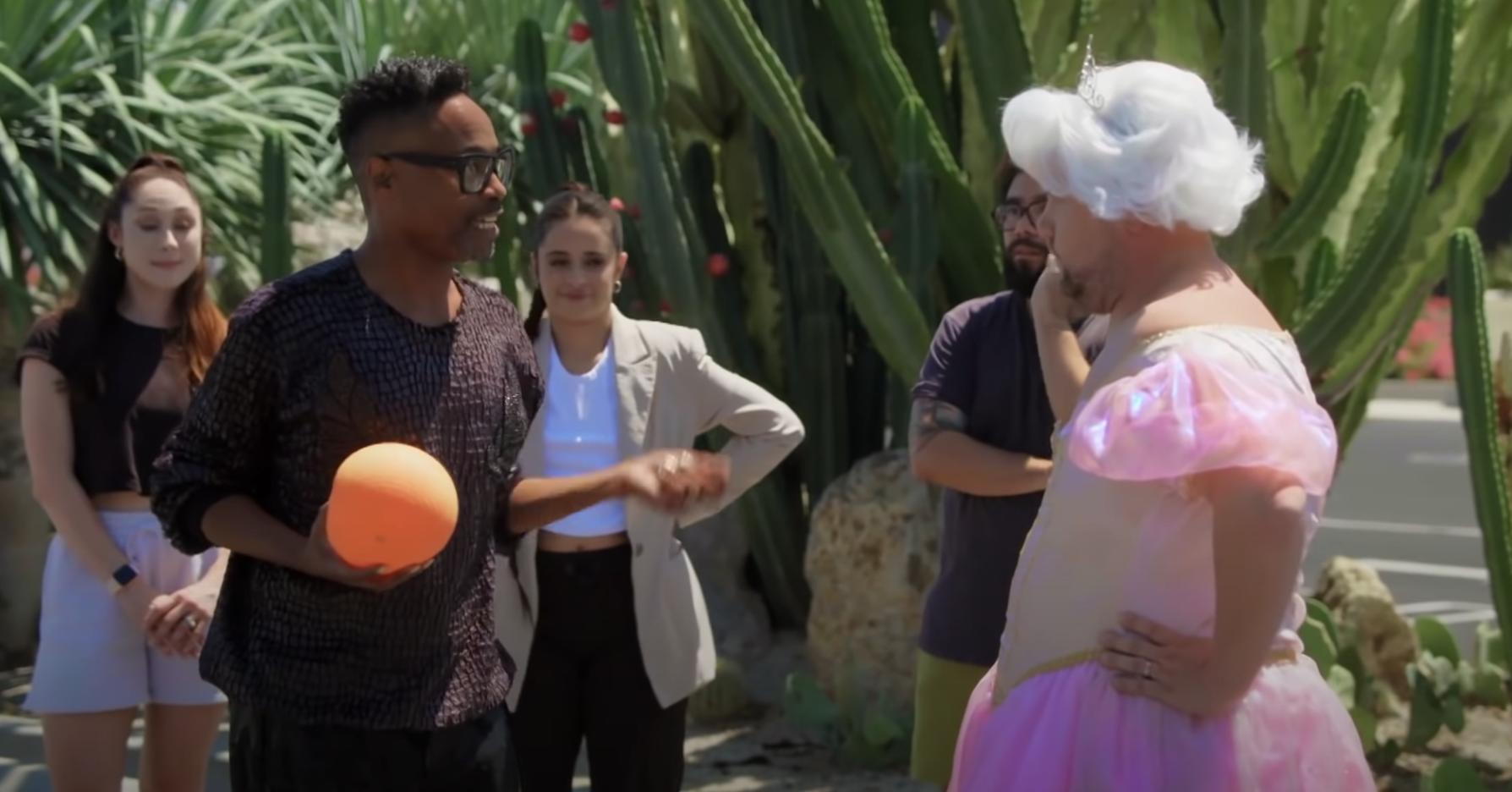 Billy talks to James as Cinderella