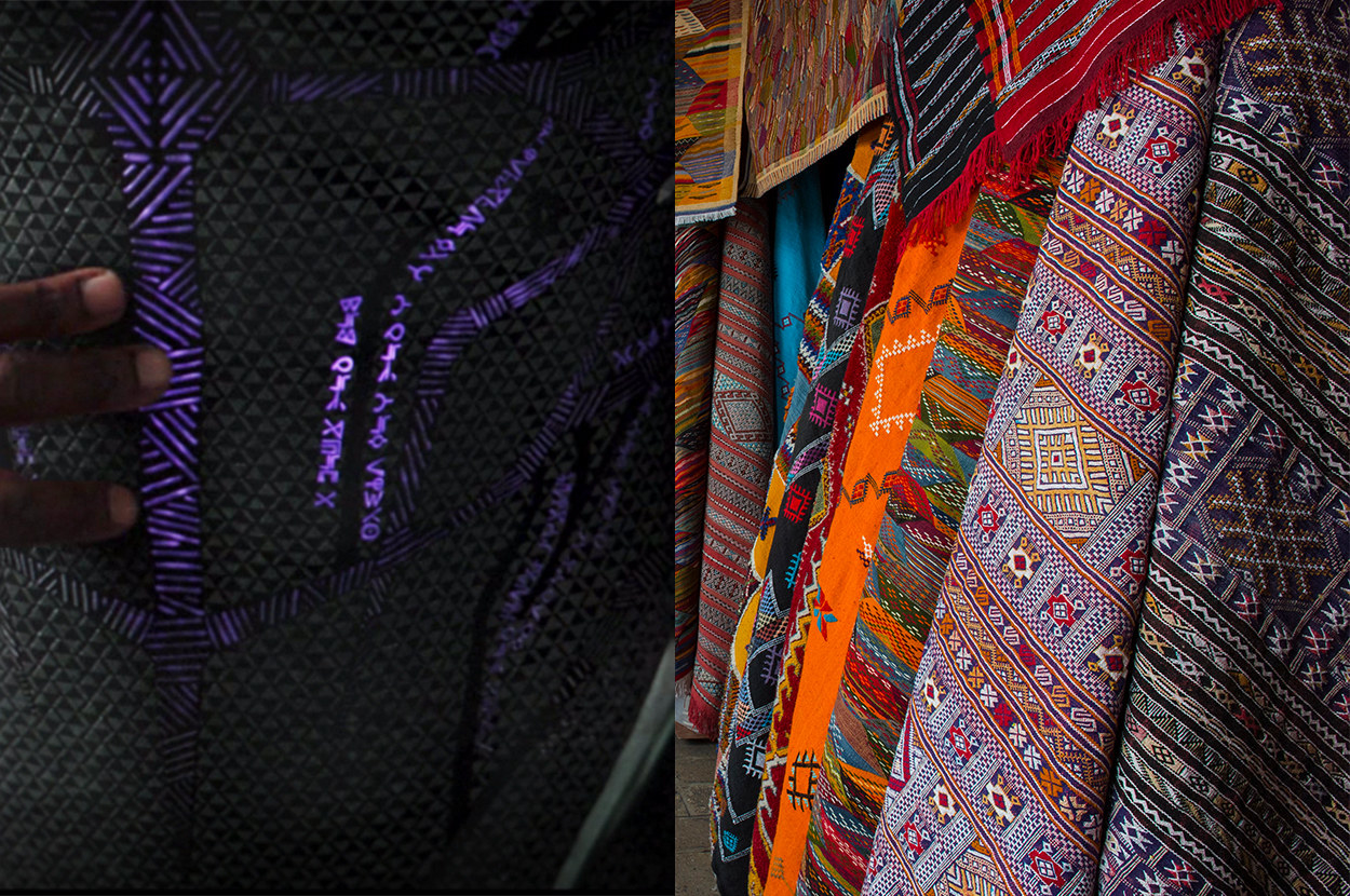the detailing of the Black Panther suit mimics the intricate geometric designs of African textiles