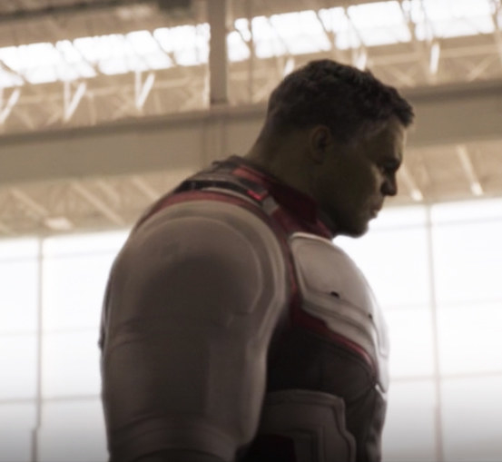 Hulk's oversized version of the coordinating suits everyone wore