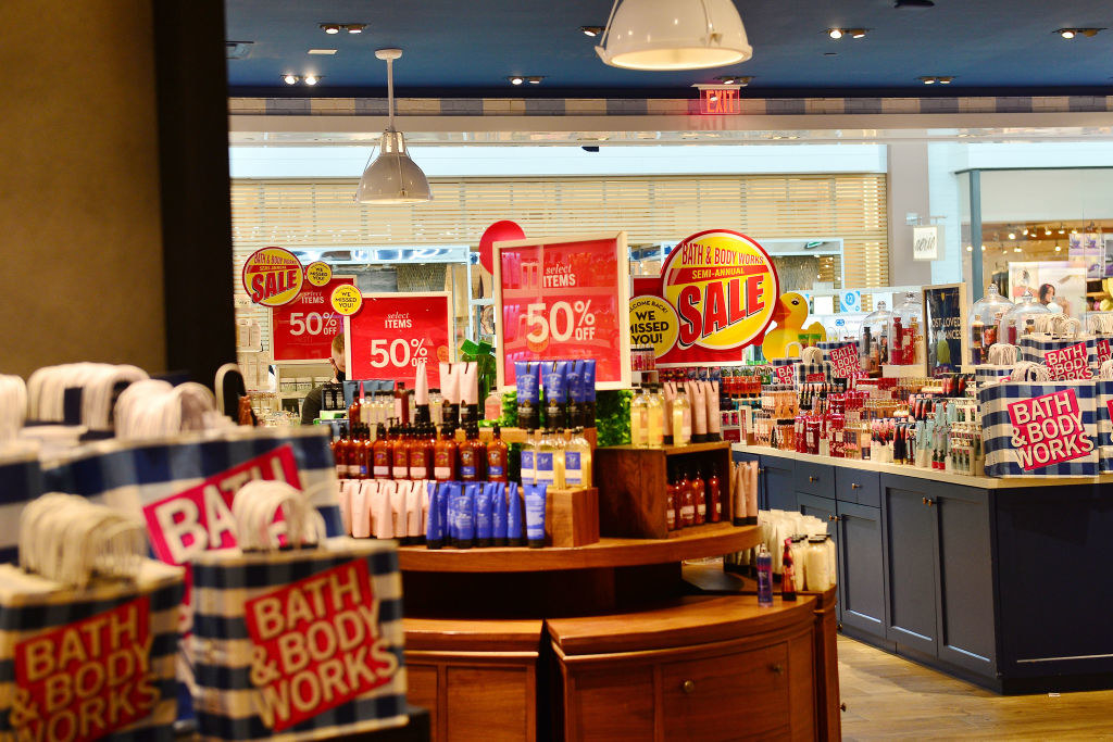 A bunch of products at Bath and body Works