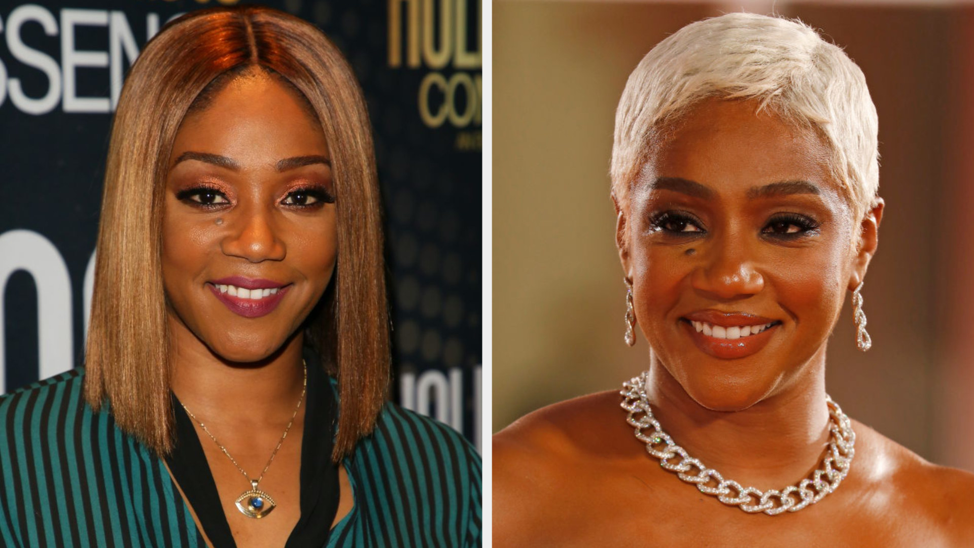 Tiffany with a brown bob and Tiffany with short platinum hair