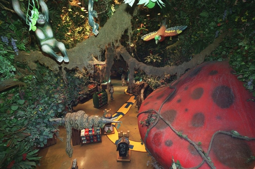 A Rainforest Cafe as seen from above