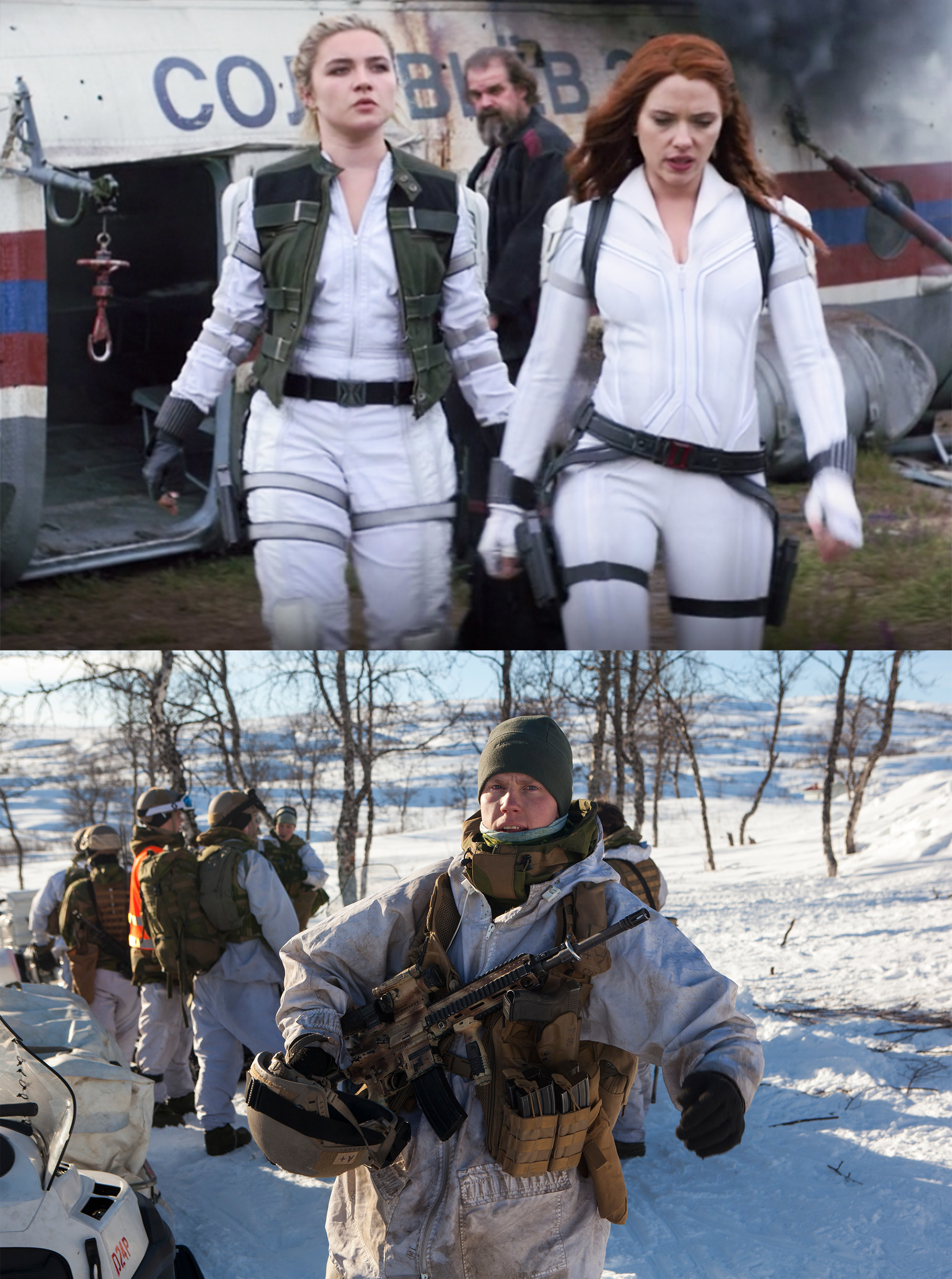the women's suits are snowy like the ones the Norwegian soldiers are wearing to train in the Arctic Circle