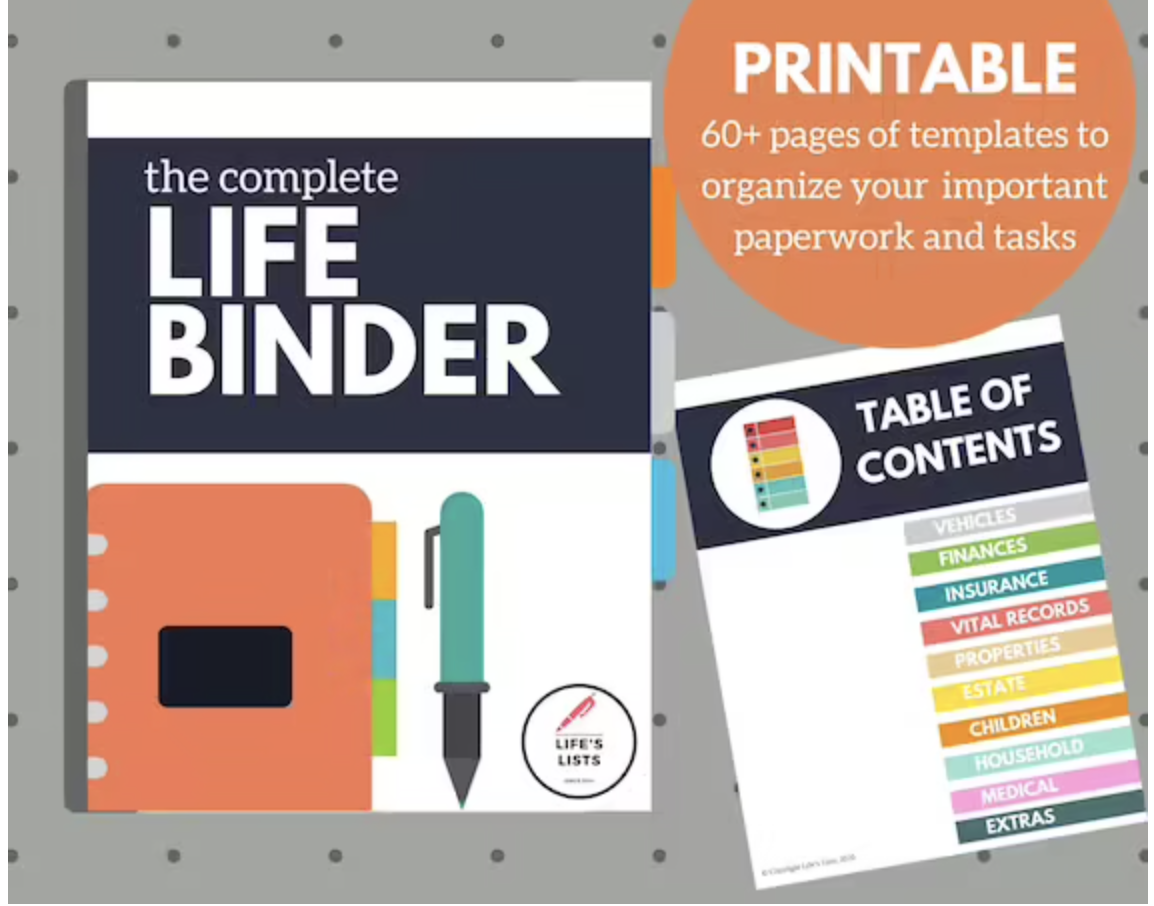 """The front page of a """"Life Binder"""" printable plus a table of contents showing different sections"""