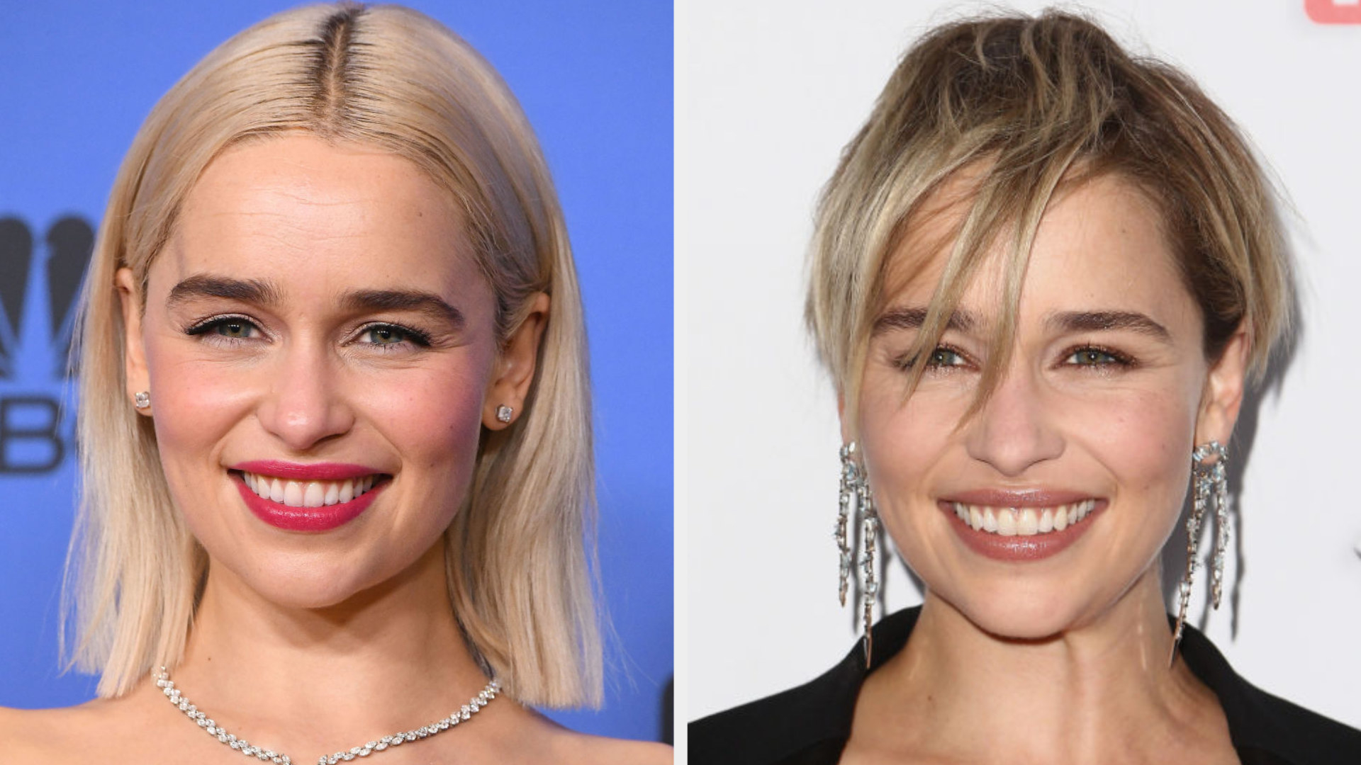 Emilia Clarke with a short platinum bob and with a shaggy pixie cut
