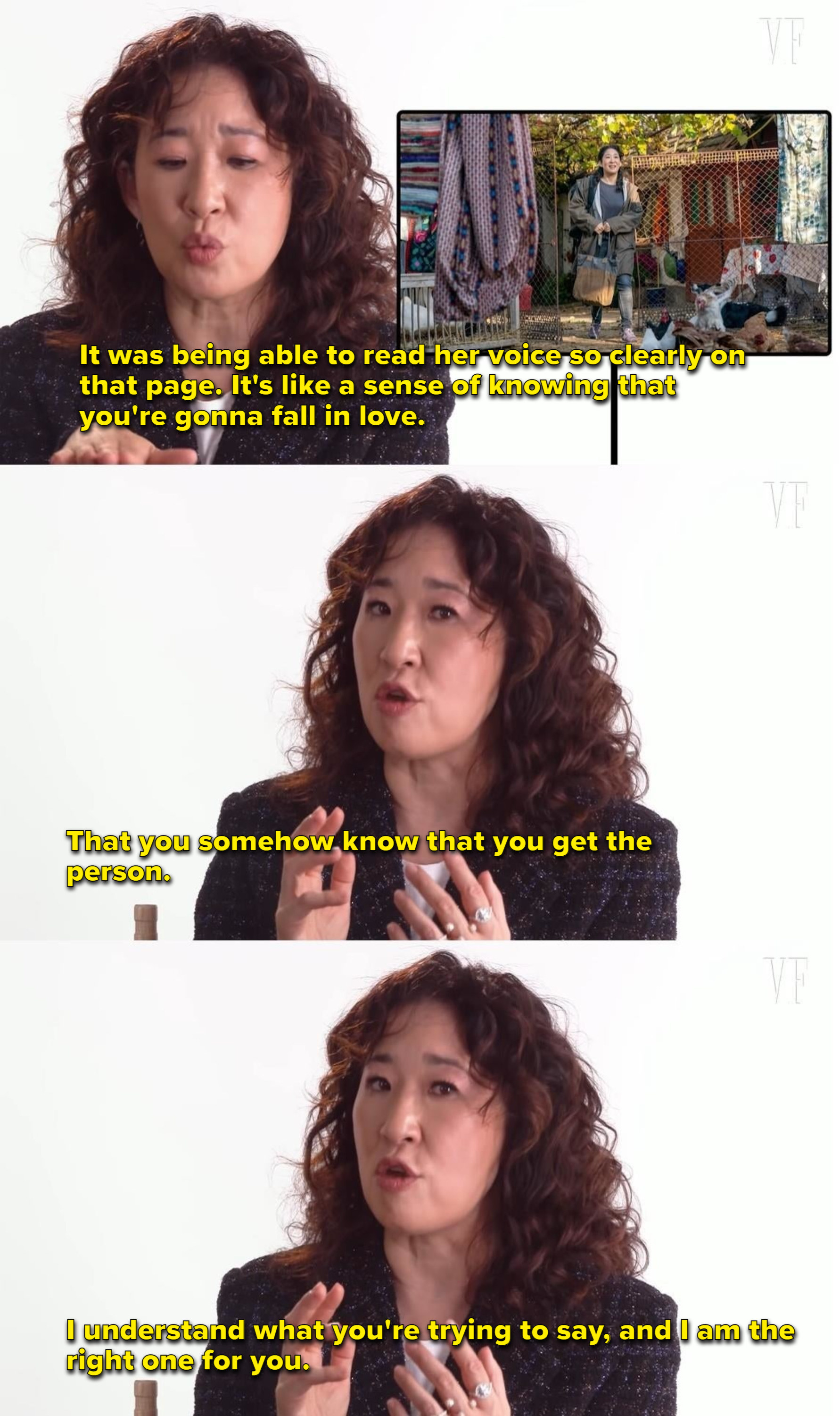 Sandra Oh talks about getting the Killing Eve script and how it was like getting the sense of falling in love