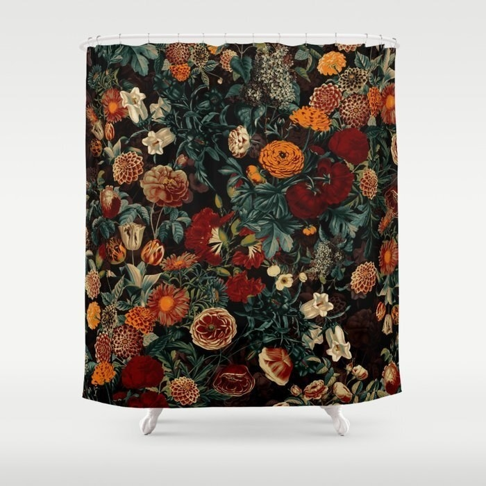 black shower curtain covered in dark marigolds and other flowers in orange, deep red, and cream colors