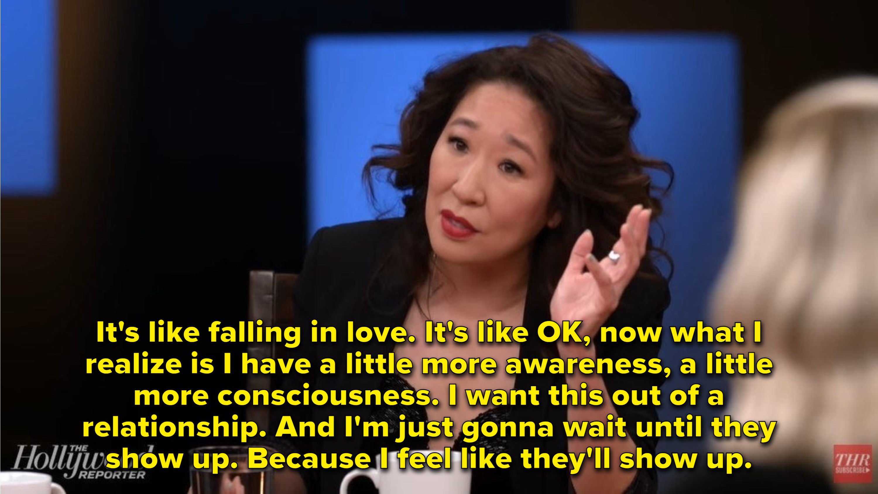 Sandra Oh talks about how waiting for the right role is like falling in love