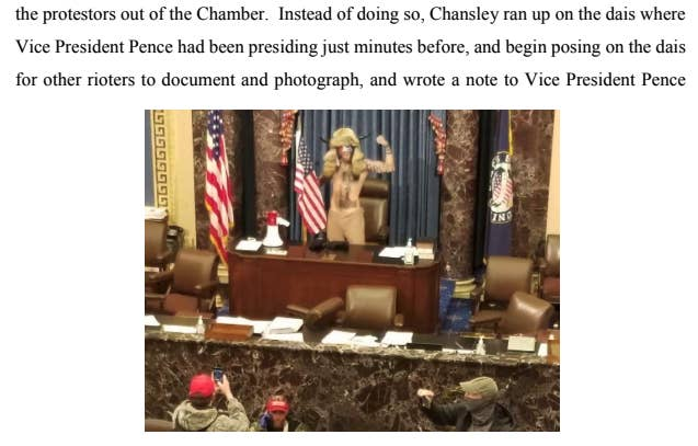 A court document includes an image of Chansley in the Senate chamber, wearing an animal hide and horns, holding a fist up