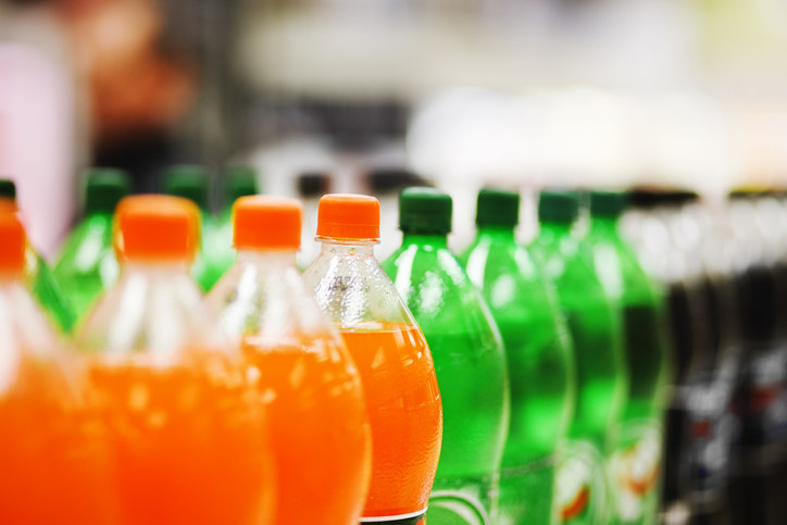 A bunch of soda bottles