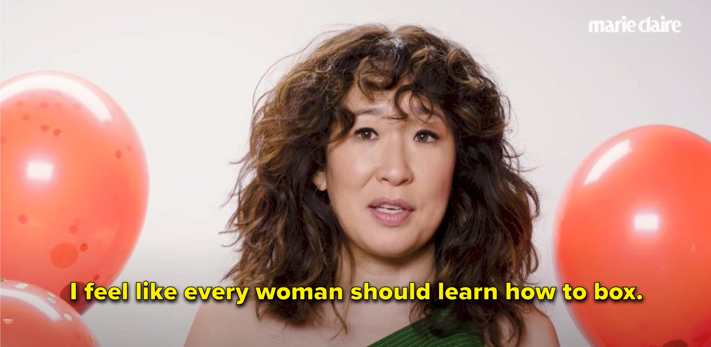 "Sandra Oh says ""I feel like every woman should learn how to box"""