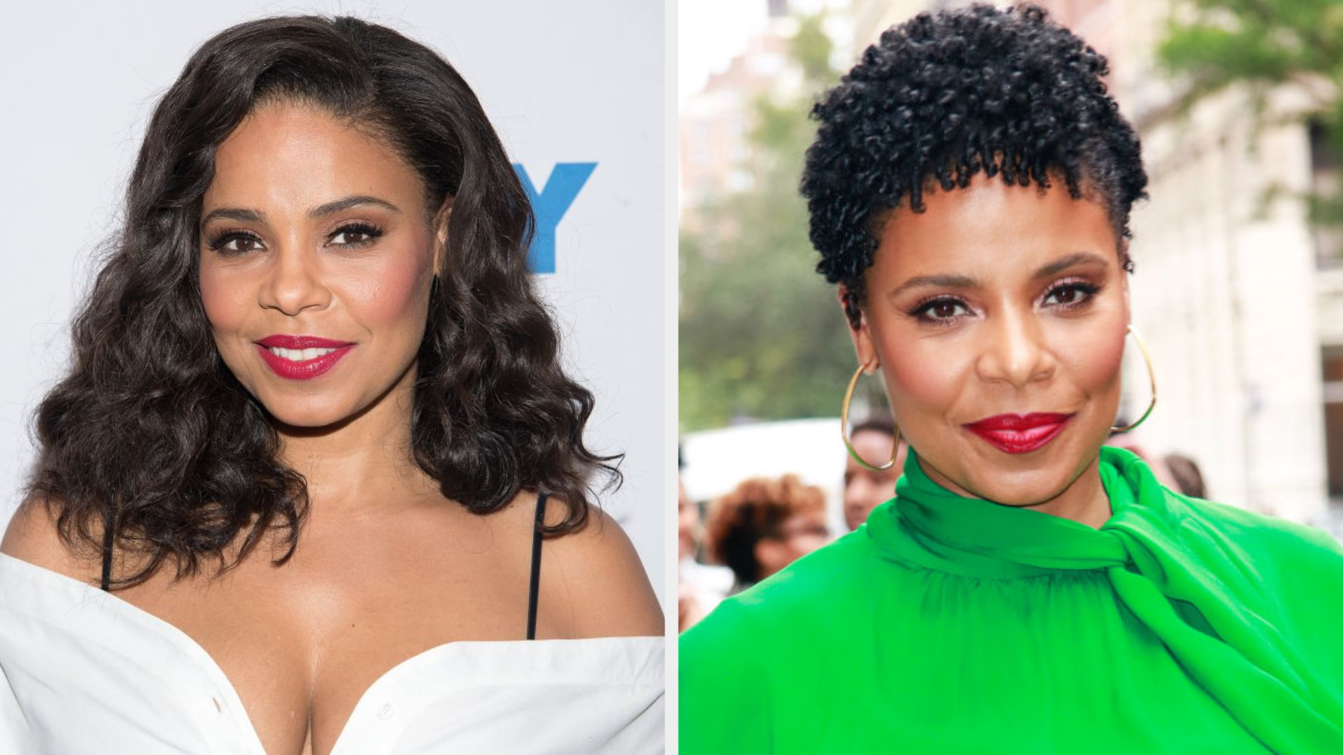 Sanaa with shoulder length black hair and Sanaa with a curly pixie cut