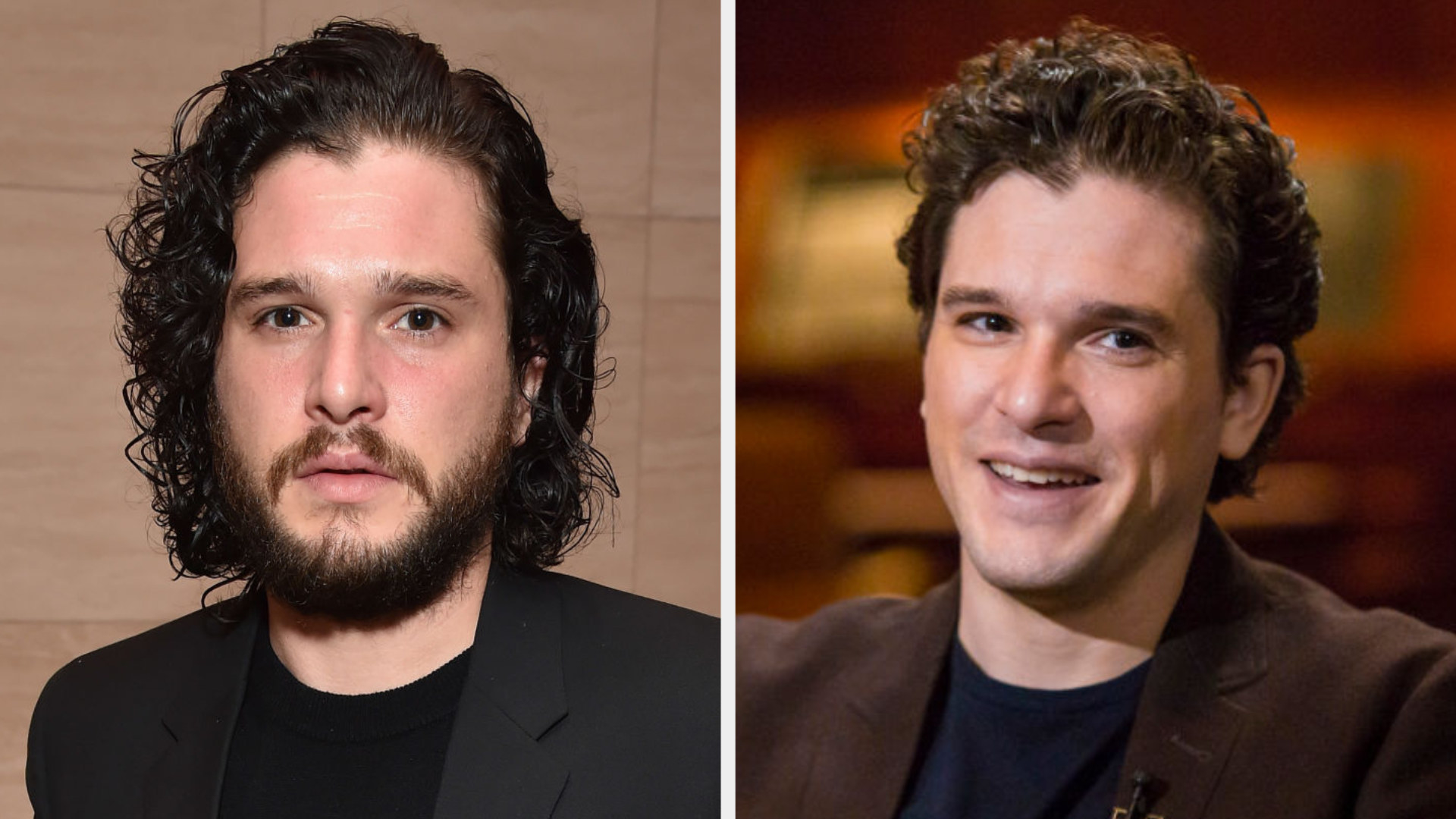 Kit Harington with long black hair and a beard and Kit with short hair and clean shaven