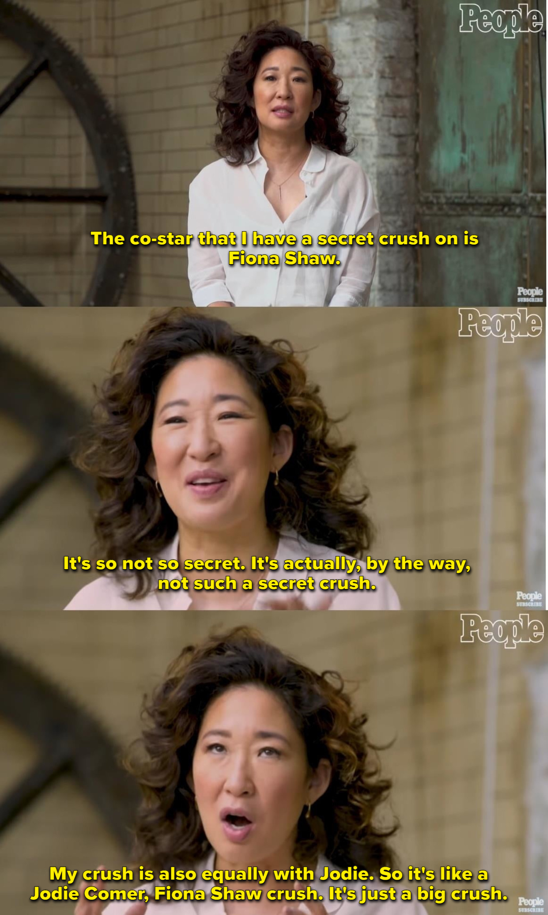 Sandra Oh talks about how she has a secret crush on Fiona Shaw and Jodie Comer
