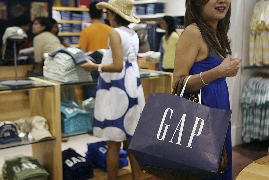 Someone shops at Gap