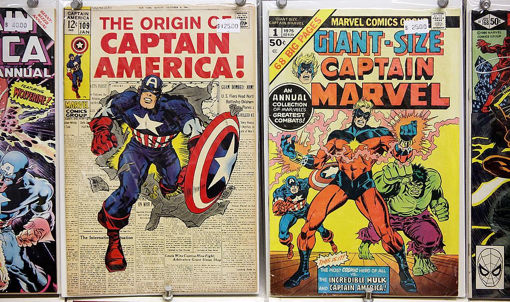 vintage Captain America and Captain Marvel comics
