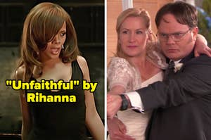 On the left, Rihanna in the Unfaithful music video, and on the right, Angela and Dwight from The Office dancing on their wedding day