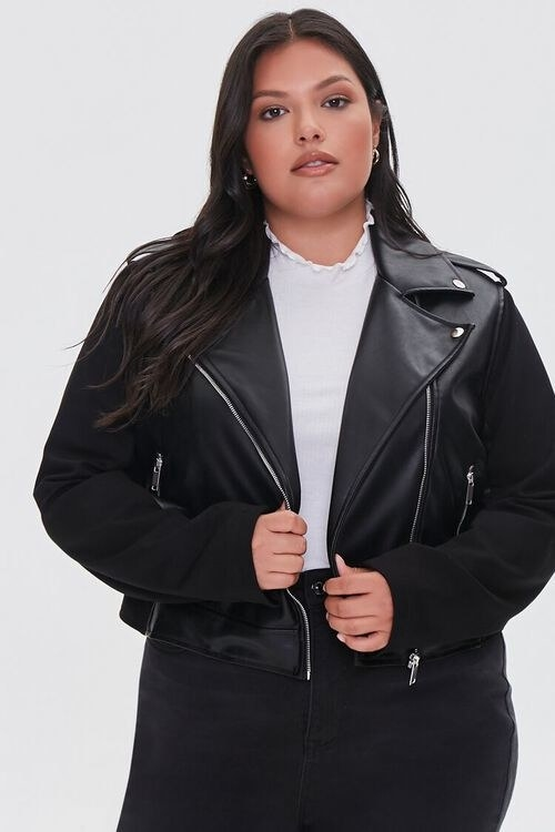 model wearing the leather jacket