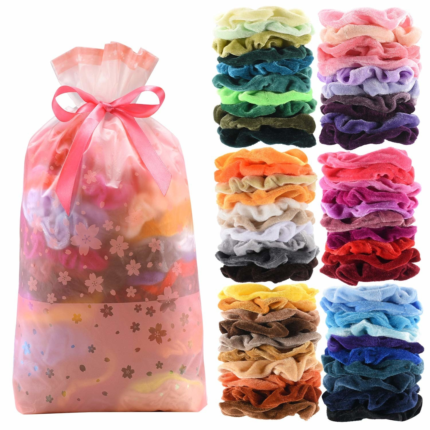 60 velvet scrunchies in a variety of colors and a bag tied with a ribbon