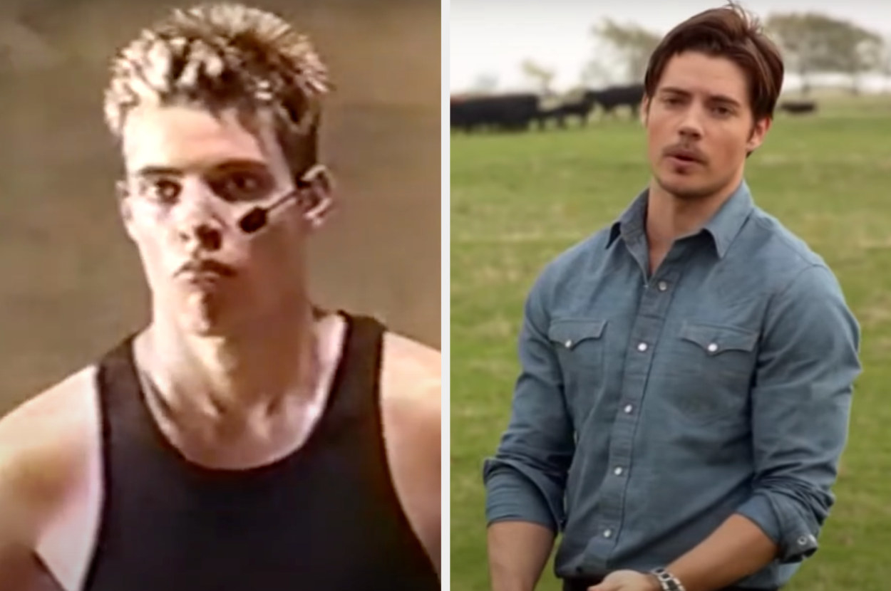 On the left, Henderson is auditioning in Popstars. On the right, he is on a farm acting in an episode of Dallas