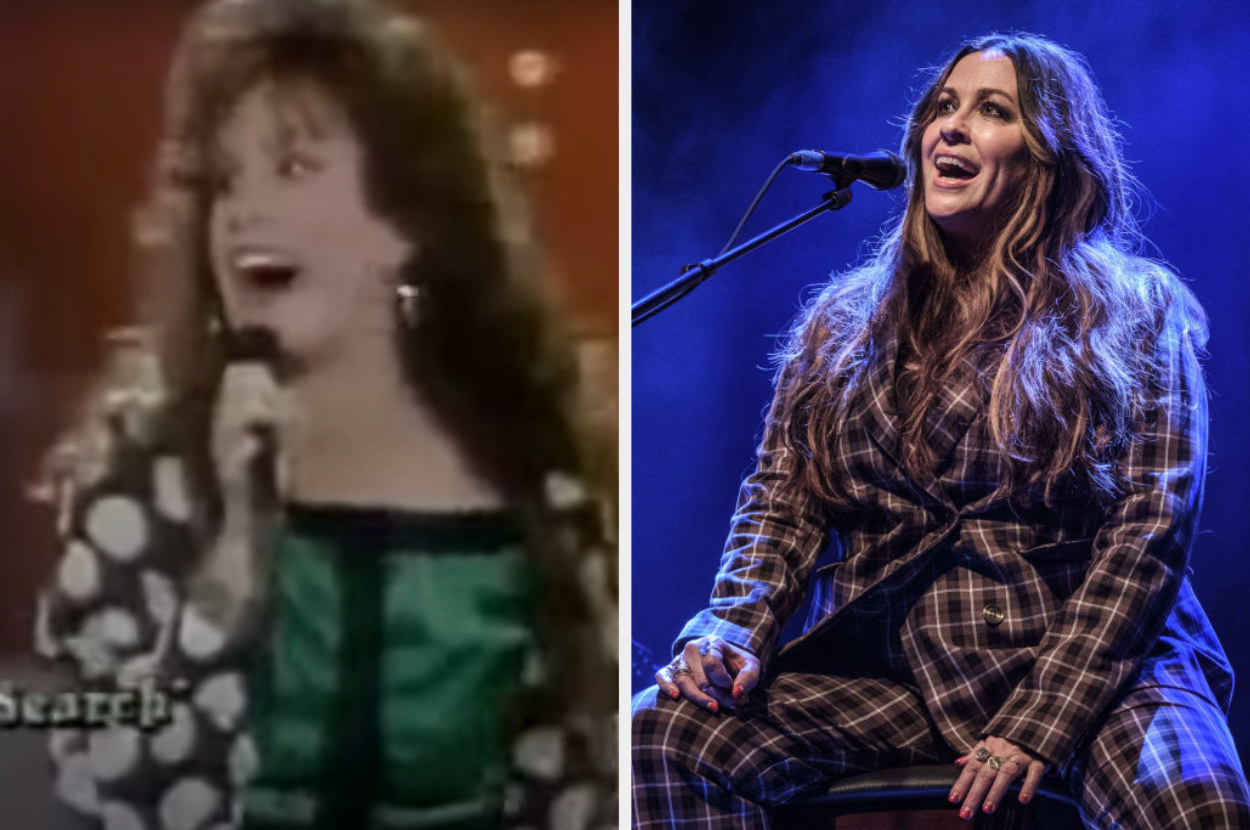 On the left, Morissette is singing on Star Search. On the right, she's performing as an adult last year