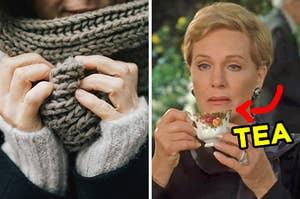 On the left, someone wearing a chunky infinity scarf, and on the right, Julie Andrews holding a tea cup as Clarisse in The Princess Diaries with an arrow pointing to the cup and tea typed next to it