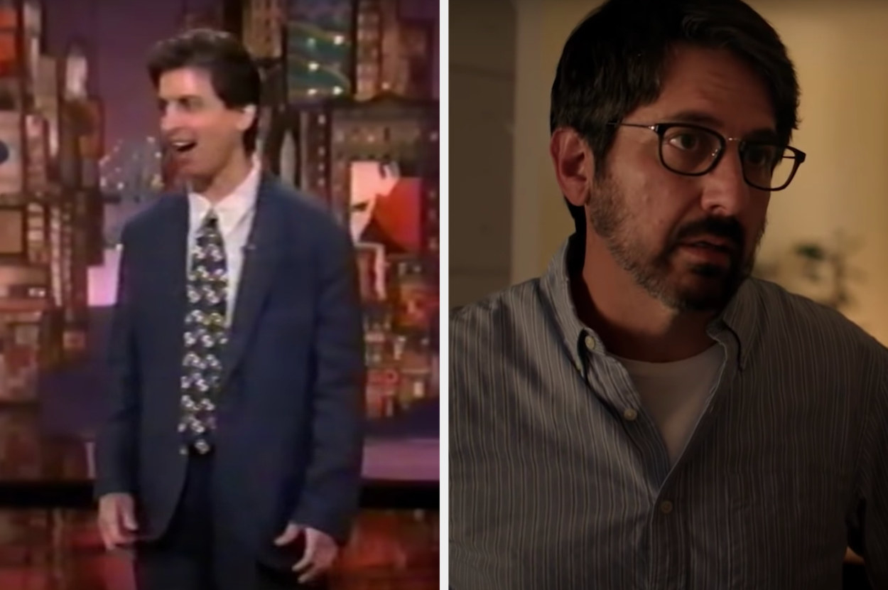 On the left, Romano is performing on Letterman. On the right, he is acting in a scene of The Big Sick