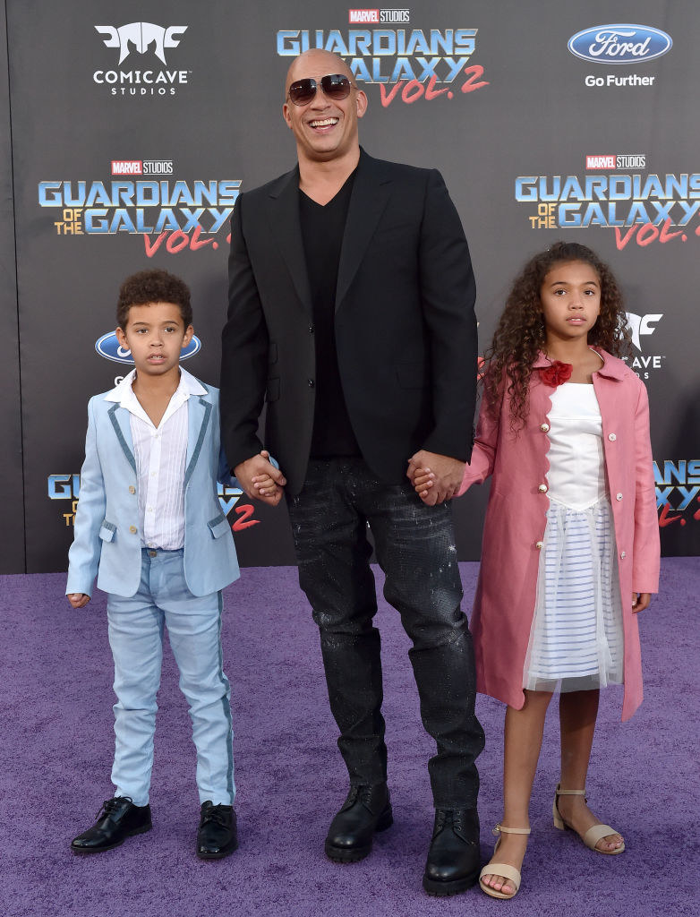 Vin Diesel, son Vincent Sinclair and daughter Hania Riley Sinclair arrive at the premiere of Disney and Marvel's 'Guardians of the Galaxy Vol. 2'