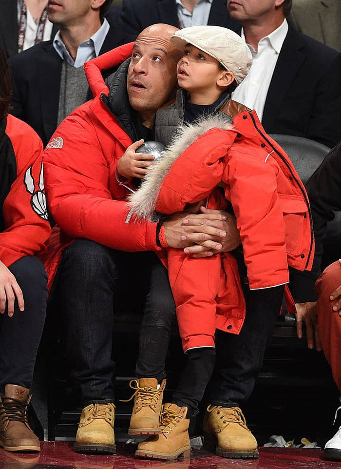 Vin Diesel and son Vincent Sinclair attend the 2016 NBA All-Star Game