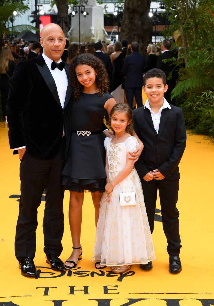 "Vin Diesel and his children, Hania Riley Sinclair, Vincent Sinclair and Pauline Sinclair attend ""The Lion King"" European Premiere"