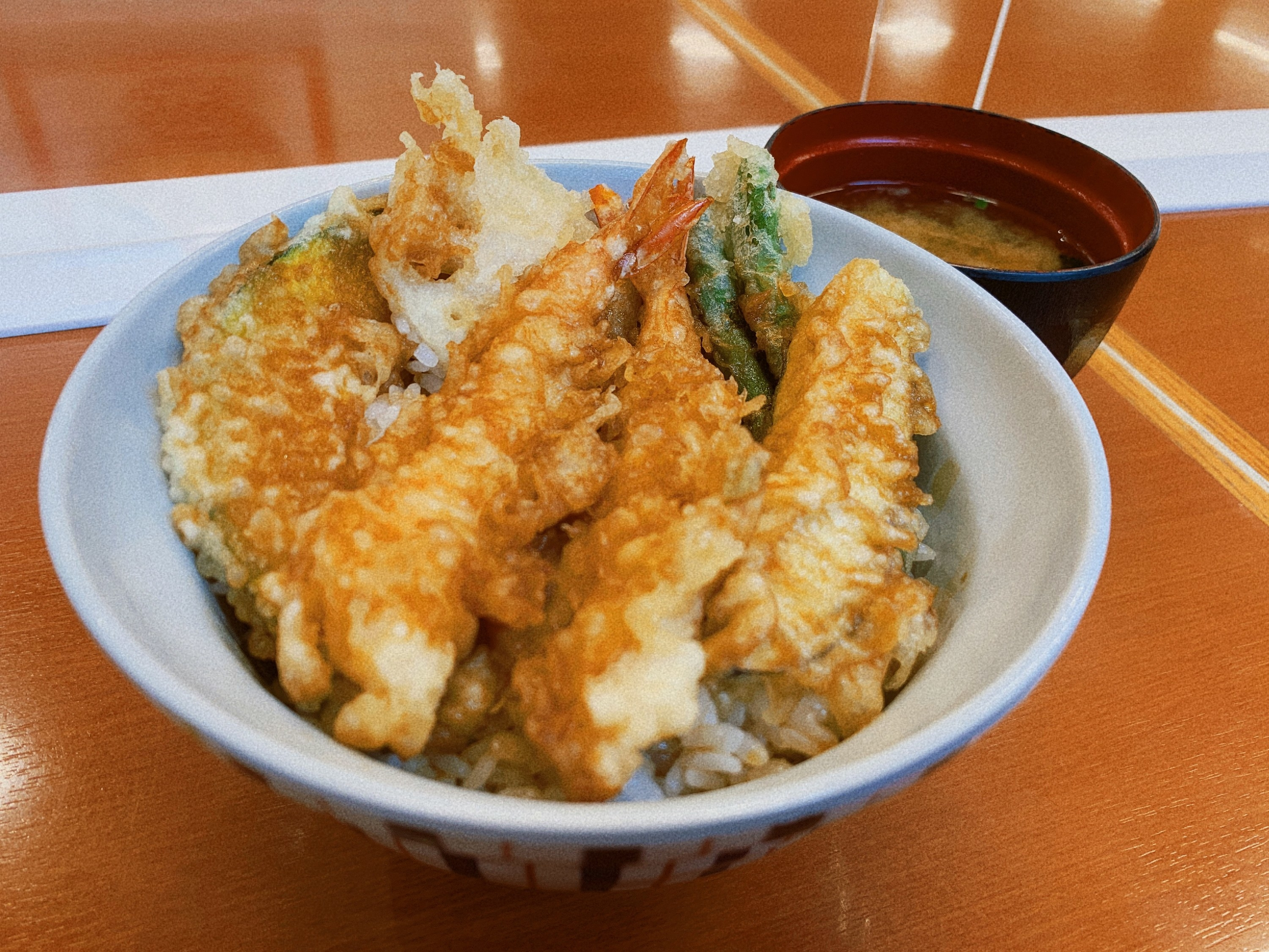 A bowl filled with deep fried seafood and vegetables (tempura) served over rice
