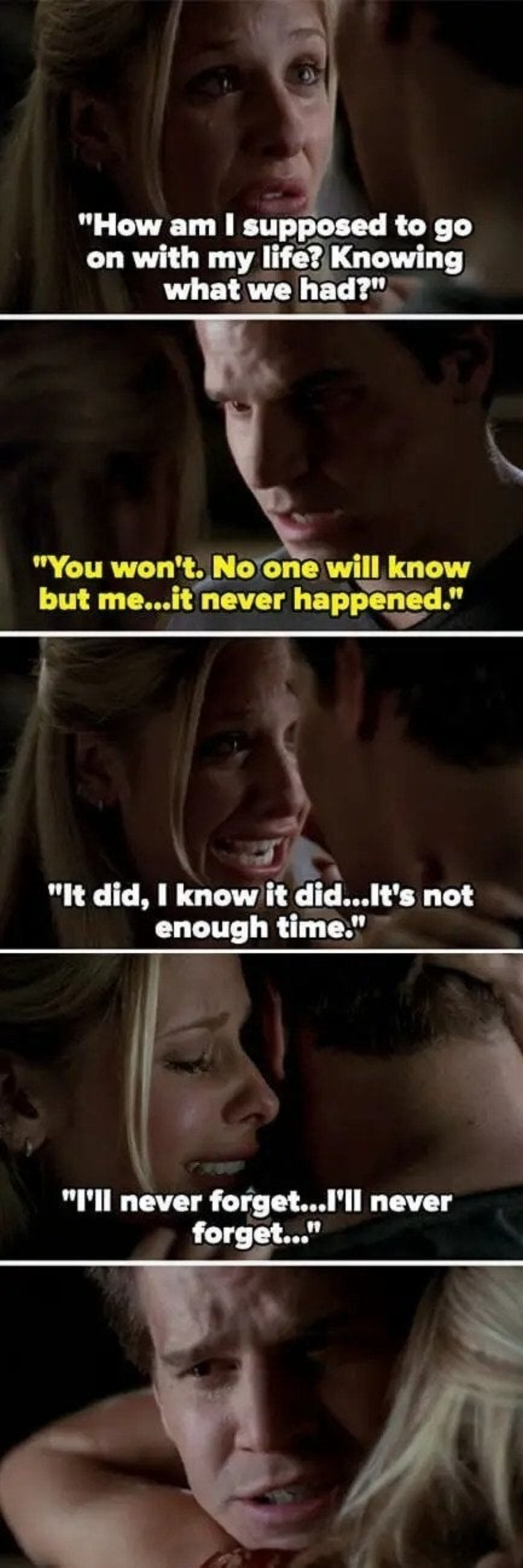 """Buffy asks how to move on with her life and Angel says she'll forget and that it never happened, but Buffy says it did and that it's not enough time, and then repeats """"I'll never forget"""" as she hugs Angel"""