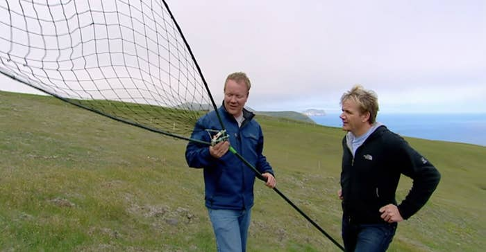 Ramsay being taught how to catch puffins with a giant net