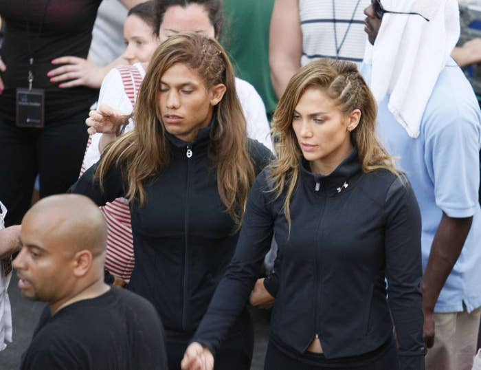 Jennifer Lopez and her stunt double on set