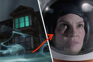 An up angle shot of a haunted house surrounded by fog and a close up of a woman as she wears an astronaut helmet