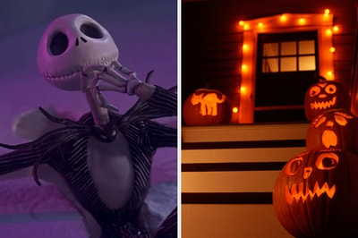 On the left, Jack Skellington from The Nightmare Before Christmas, and on the right, a front door surrounded by jack-o'-lanterns and Halloween lights