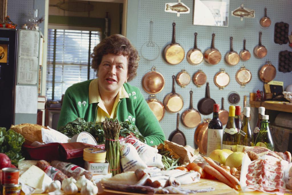 Julia Child at her home kitchen