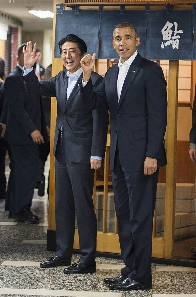 Abe and Obama meet outside the restaurant