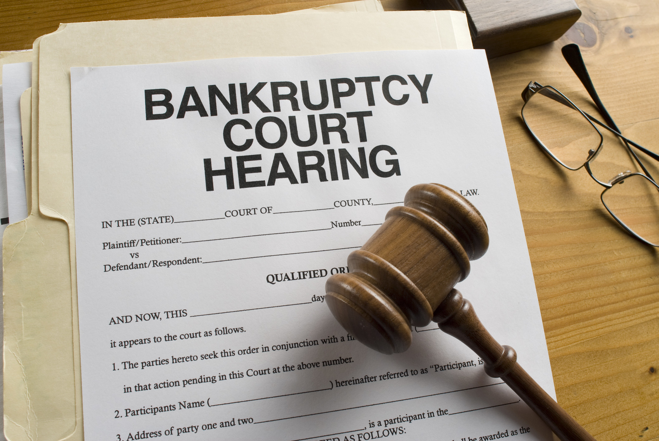 Paperwork for bankruptcy court