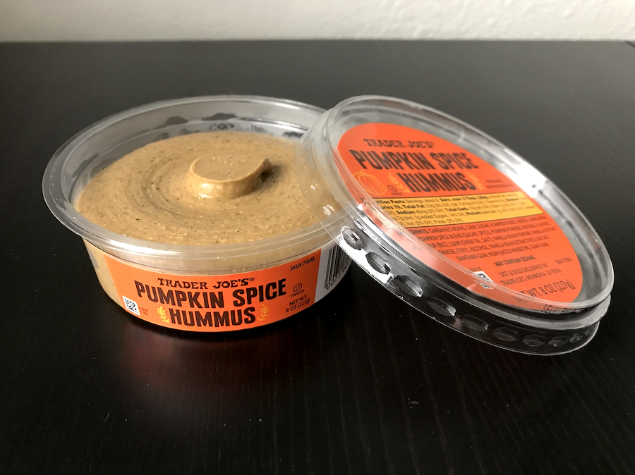 A container of pumpkin spice hummus