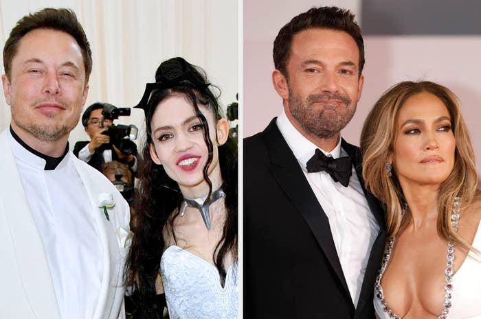 A photo of Elon Musk with Grimes and a photo of Ben Affleck with Jennifer Lopez.